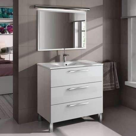 Mueble de baño y espejo sin lavamanos , Taria en Blanco Brillo