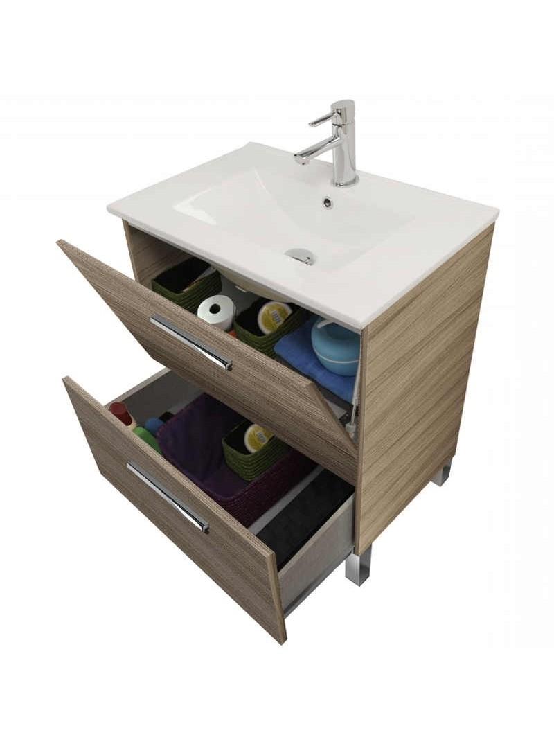 Mueble de baño puerta + cajón con espejo y  sin lavamanos. color Nature.