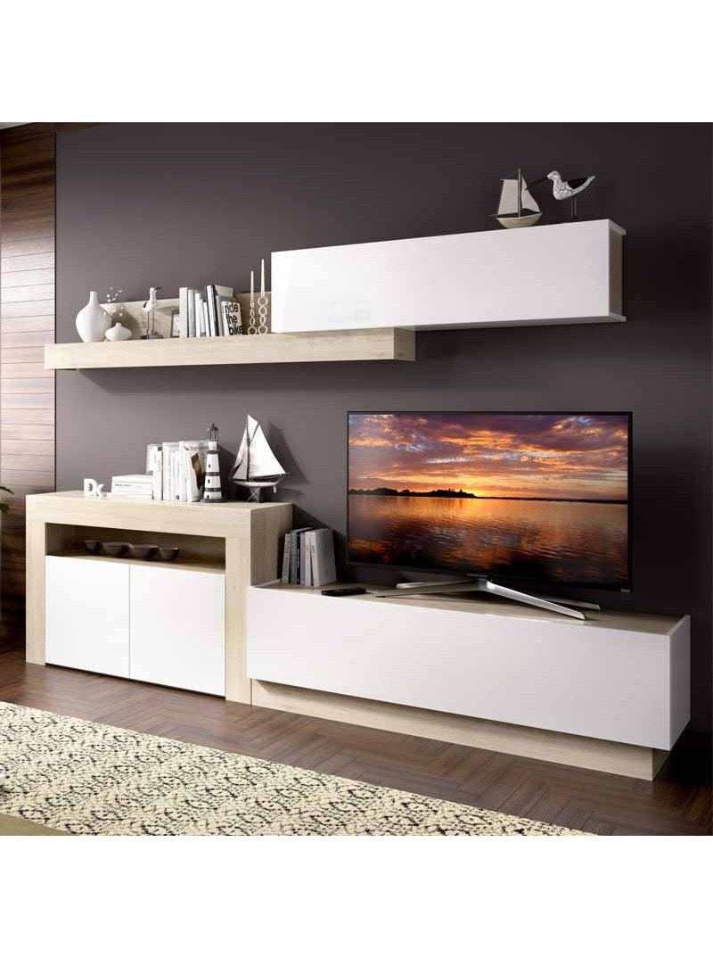 Mueble salon moderno blanco y natural Enna