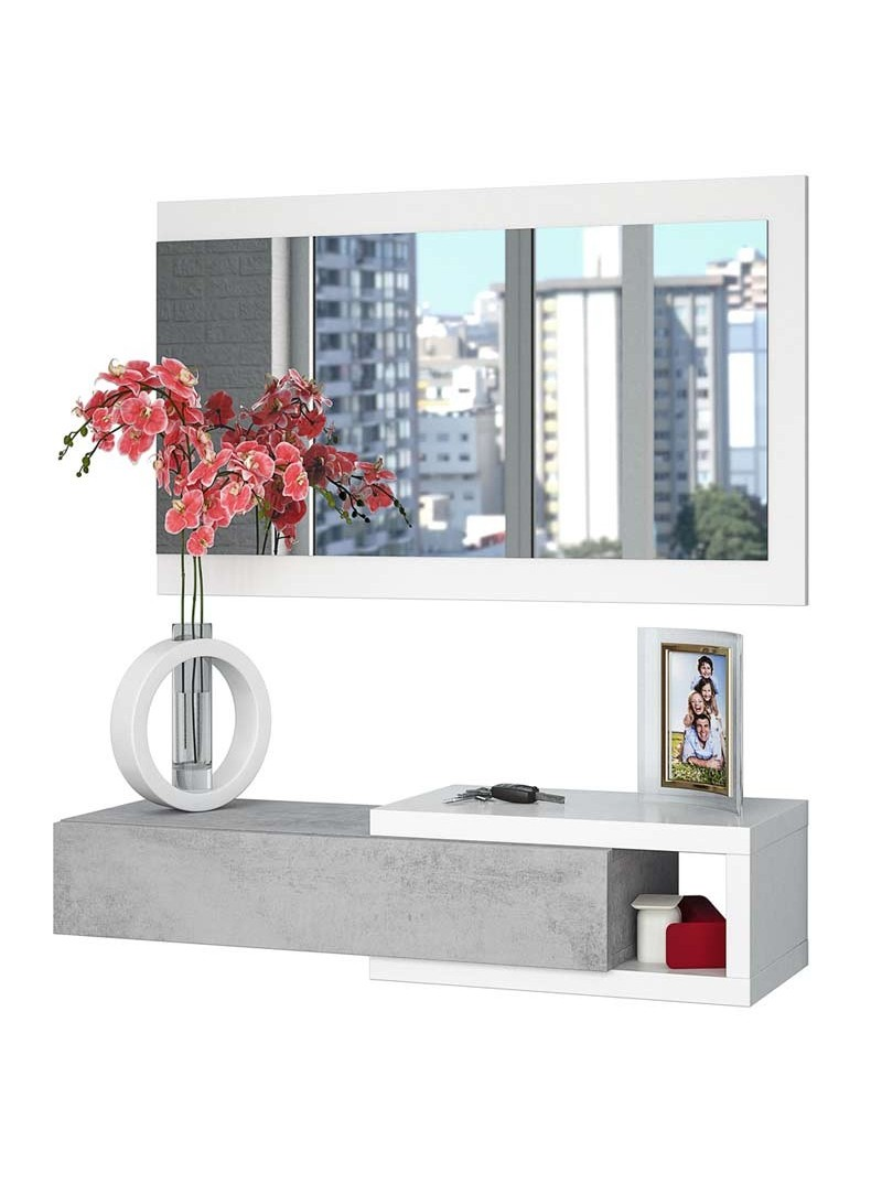 Recibidor cemento con espejo
