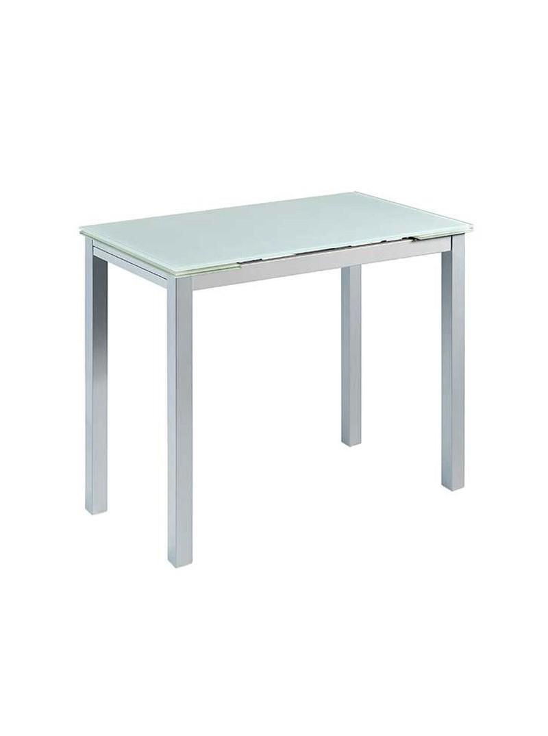 Mesa cocina extensible blanca cristal