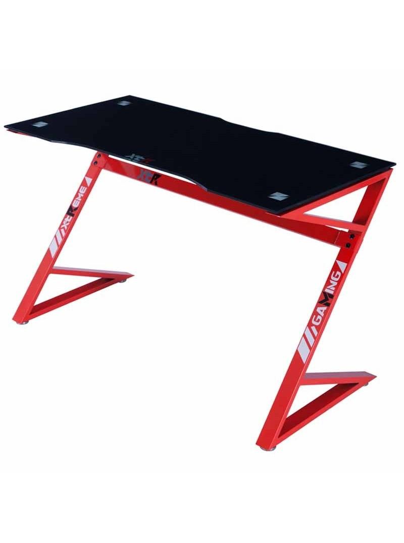 Mesa Gamer cristal negro y rojo