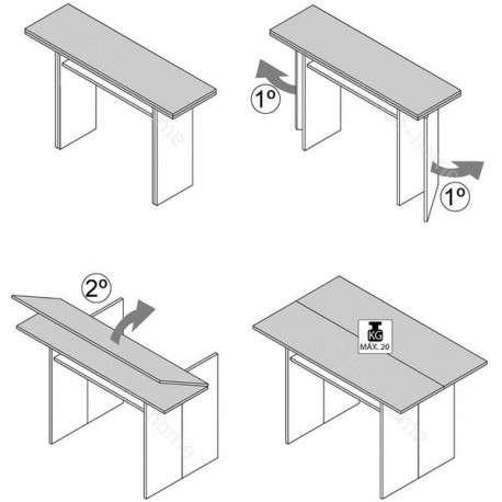 Mesa consola extensible para cocina