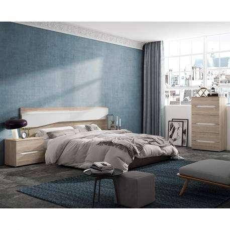 Mesita noche Future 2 cajones color sable y blanco dormitorio