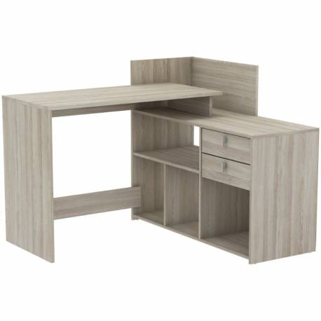 Mesa escritorio Vista color roble con altillo
