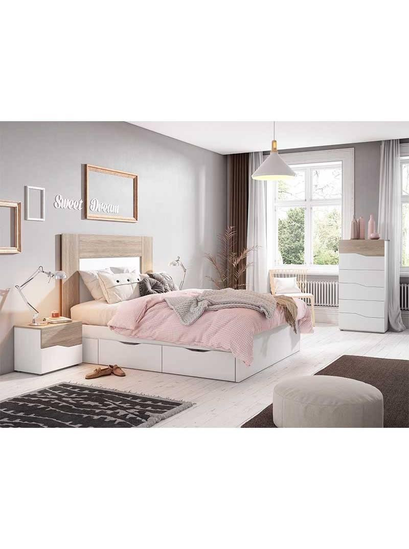 Habitación matrimonio color blanco y sable 150 cm