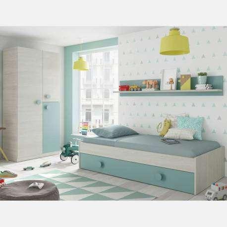 Pack cama con armario y estante juvenil verde y blanco