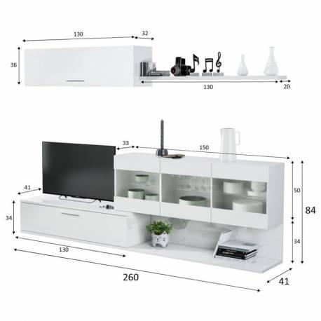 Mueble modular de salón Aral color blanco brillo