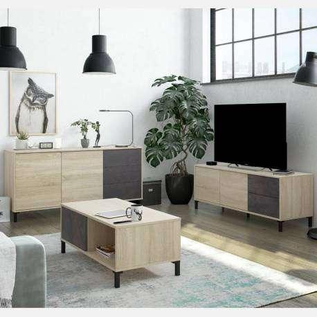 Pack muebles de salón Andy color roble y óxido industrial
