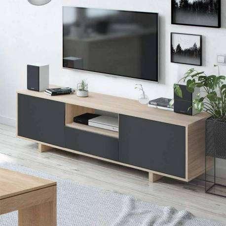 Mesa TV Zaira 3 puertas color gris y roble