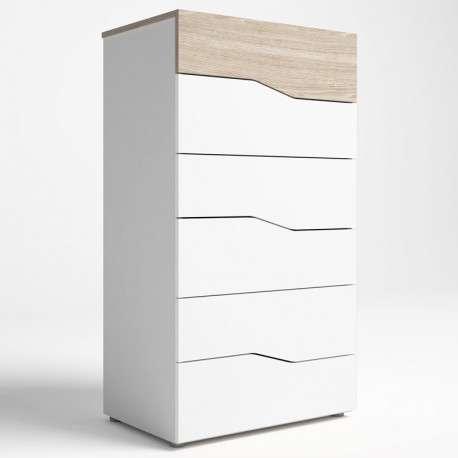 Comoda Asimetric 6 cajones color blanco y sable