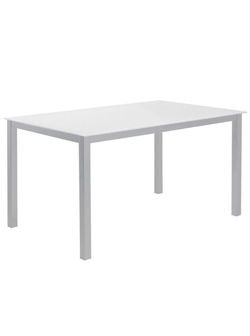 Mesa fija cristal blanco