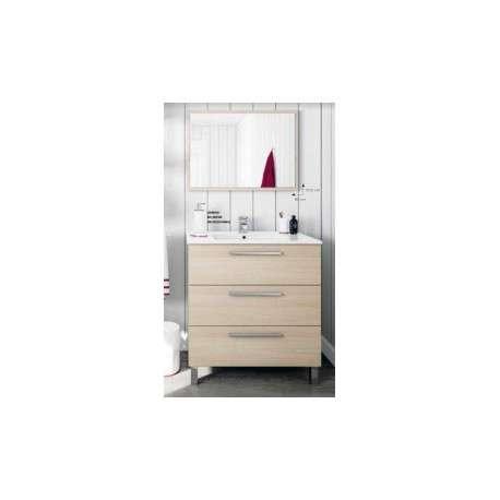 Mueble de baño 3 cajones con espejo en color roble.