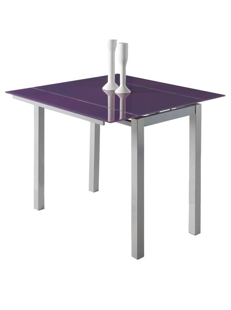 Mesa extensible cristal morada cocina