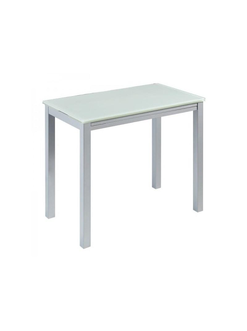 Mesa cristal blanco puro extensible