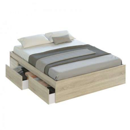 Cama con cajones  color roble 150x190
